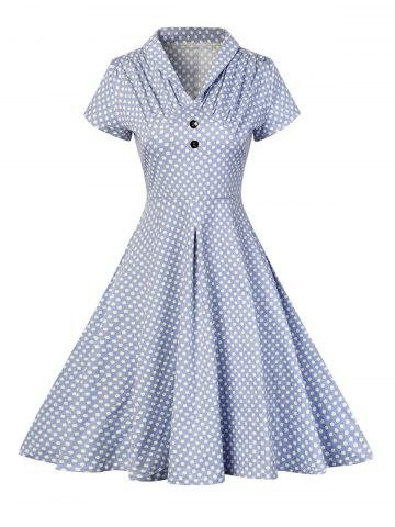 Sale Buttoned Polka Dot V Neck Skater Dress BLUE S