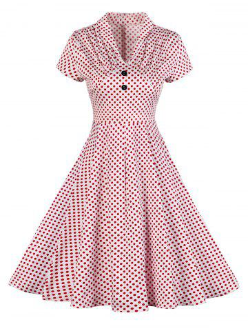 New Buttoned Polka Dot V Neck Skater Dress RED M