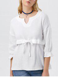 Drawstring Waist Split Neck Blouse