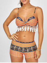 Push Up Printed Crochet Bikini Set