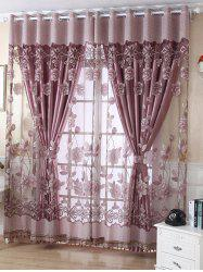 1Pcs Grommet Roller Floral Window Tulle -