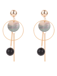 Circle Bar Ball Drop Earrings