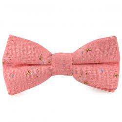 Tiny Floral Printed Cotton and Linen Bow Tie - PINK