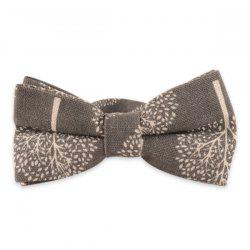 Little Tree Printed Cotton and Linen Bow Tie - SMOKY GRAY