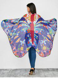 Colorful Flower Butterfly Wing Cape Chiffon Pashmina with Straps
