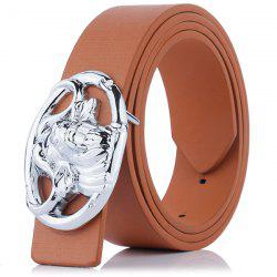 Hollow Out Engraved Buckle Faux Leather Belt