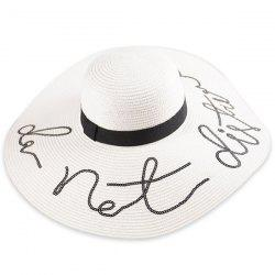 Wide Brim Ribbon Sequins Sun Hat with Writing