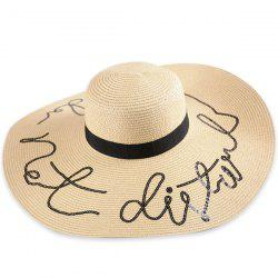 Wide Brim Ribbon Sequins Sun Hat with Writing - PALOMINO