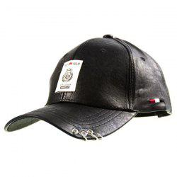 Metal Ring Faux Leather Character Baseball Hat