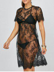 See Through Crochet Swimwear Cover-Ups Dress - BLACK
