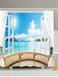 Window Seascape Design Waterproof Fabric Shower Curtain - LIGHT BLUE
