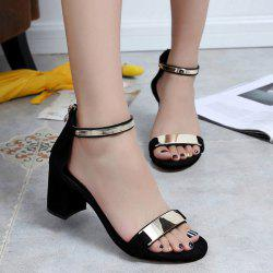 Metal Trimmed Block Heel Ankle Strap Sandals - BLACK