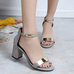 Metal Trimmed Block Heel Ankle Strap Sandals - GRAY