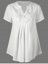 Lace Insert Split-Neck Tunic Blouse