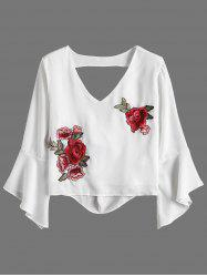 Flare Sleeve Rose Embroidered Chiffon Crop Blouse