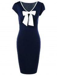 Bow Tie Cap Sleeve Sheath Vintage Pencil Dresses - CADETBLUE + WHITE
