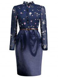 High Neck Belted Floral Print Sheath Dress