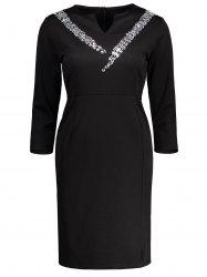 High Waist Notched Collar Rhinestone Slit Sheath Dress