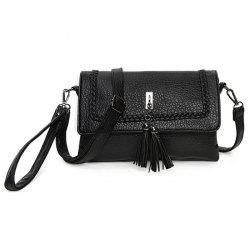 Tassel Braided Flap Crossbody Bag - BLACK