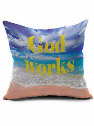Beach Print Short Plush Square Pillow Case