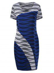 Plus Size Striped Fitted Bodycon Dress