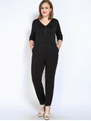 Front Zip V Neck Plus Size Jumpsuit