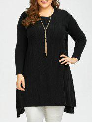 High Low Knitted Plus Size Mini Dress