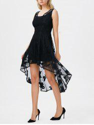 High Low Butterfly Gothic Lace Carpet Skater Party Dress - BLACK