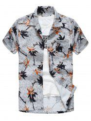 Tropical Print Short Sleeve Casual Shirt