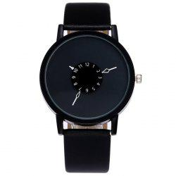 Faux Leather Strap Number Analog Watch -