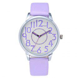 Faux Leather Number Analog Watch