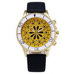 Faux Leather Analog Floral Watch