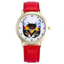 Faux Leather Cartoon Cat Analog Watch