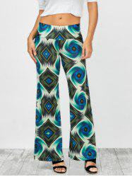 Abstract Colorful Print Elastic Waist Palazzo Pants