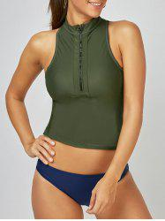 Half Zip Racerback High Neck Tankini Swimwear - BLACKISH GREEN