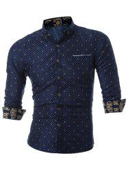 Polka Dot Faux Pocket Shirt - CADETBLUE