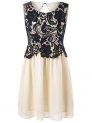 Lace Chiffon Panel Sleeveless Dress