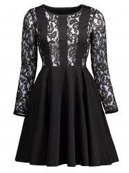 High Waisted Lace Insert Flare Dress