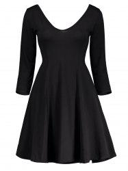 Plunging Neck Fitted A Line Mini Dress - BLACK