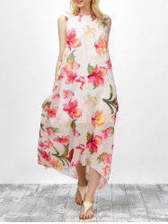 Asymmetrical Floral Print Chiffon Dress - COLORMIX