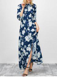 Button Up Floral Print High Waist Maxi Dress