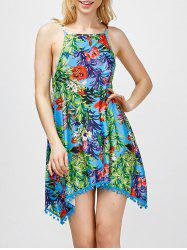 Floral Print Trim Hawaiian Luau Dress