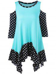 Cold Shoulder Polka Dot Asymmetrical Top