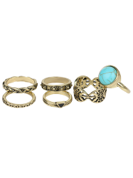 Plated Alloy Engraved Faux Turquoise Ring Set