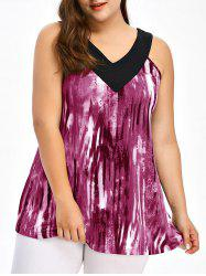 Plus Size Tie Dye Ringer Tank Top