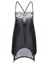 Plus Size Lace Trim Asymmetrical Sheer Babydoll - BLACK