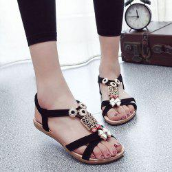 Elastic Band T Bar Sandals - BLACK