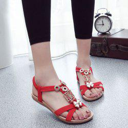 Elastic Band T Bar Sandals - RED