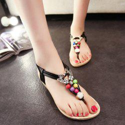 Beads Faux Leather Sandals