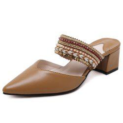 Faux Leather Beads Slippers - BROWN